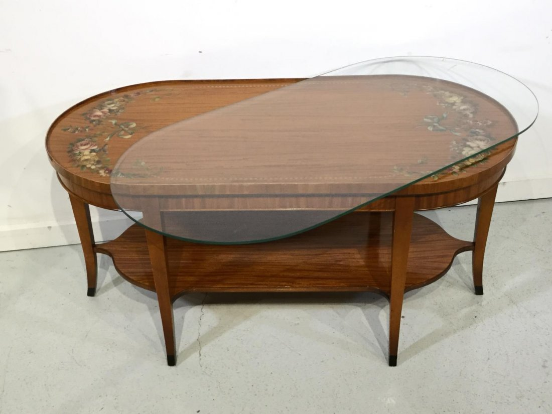 Edwardian paint decorated satinwood coffee table - 10