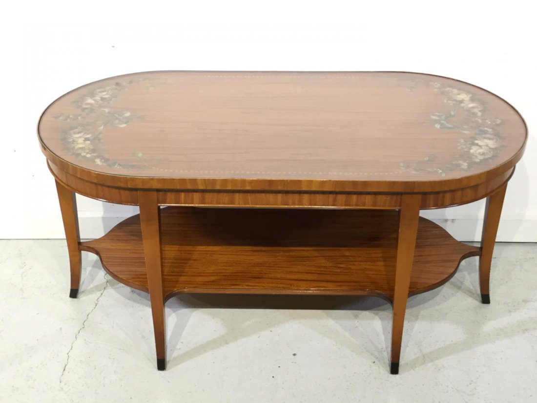 Edwardian paint decorated satinwood coffee table
