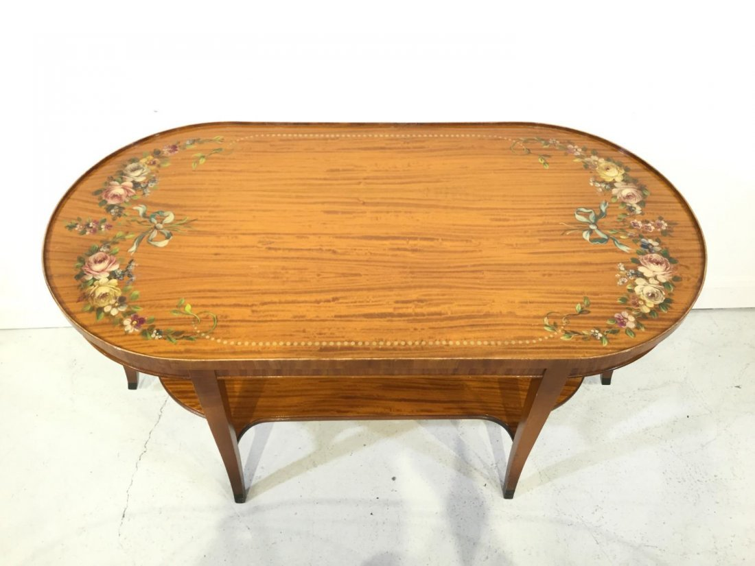 Edwardian paint decorated satinwood coffee table - 2