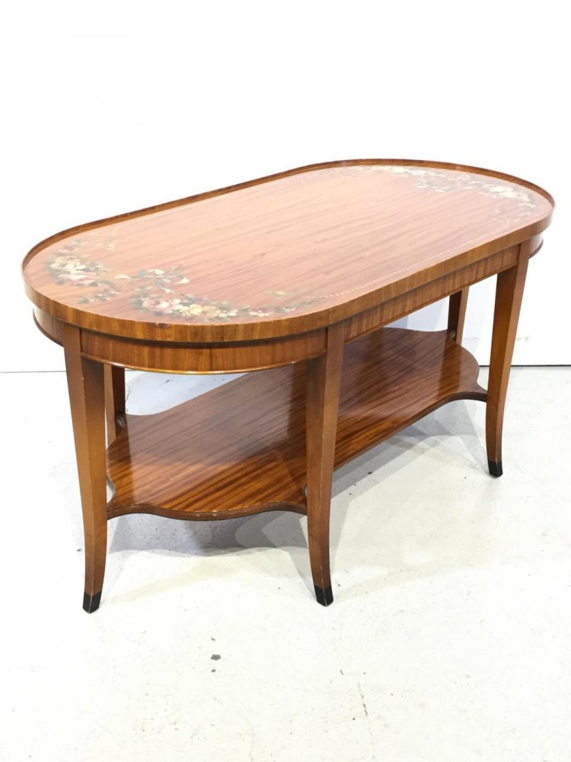 Edwardian paint decorated satinwood coffee table - 3