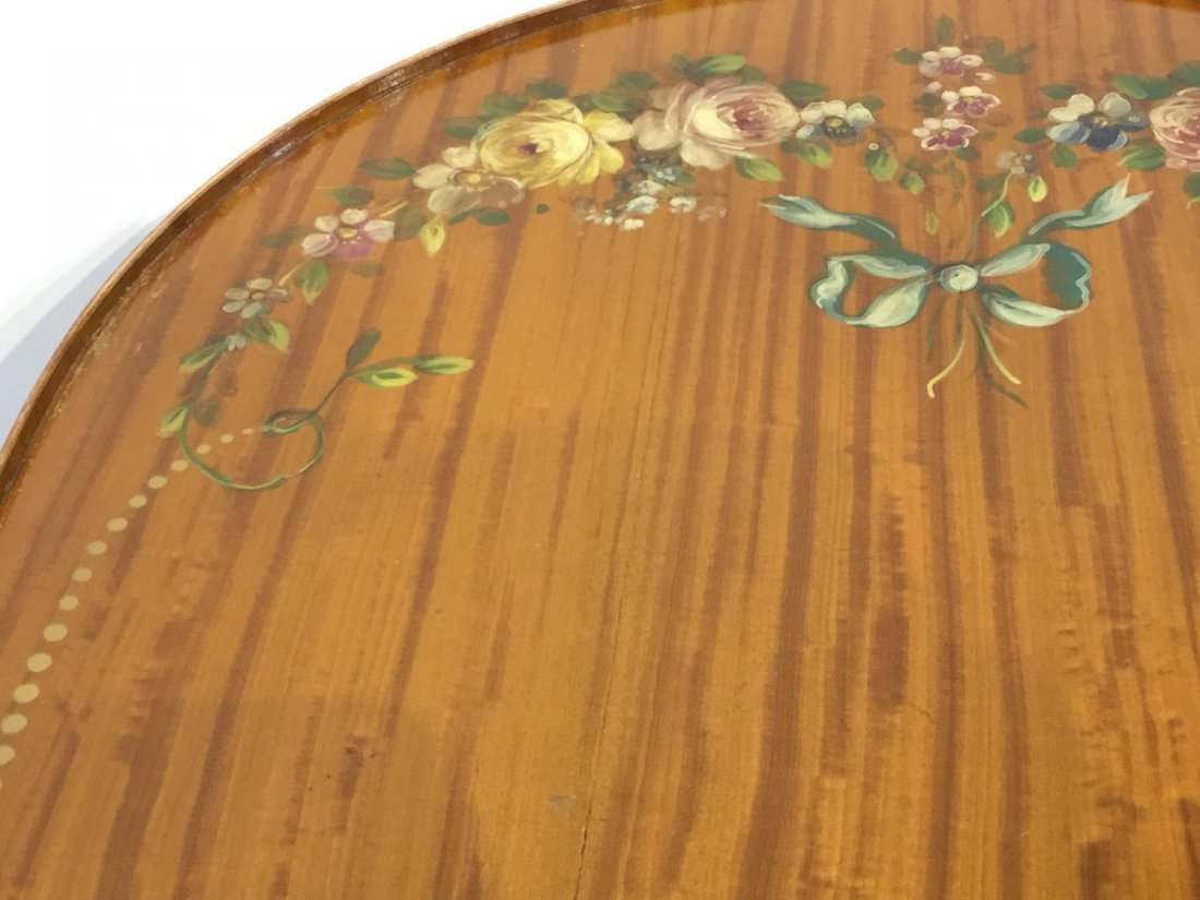 Edwardian paint decorated satinwood coffee table - 4