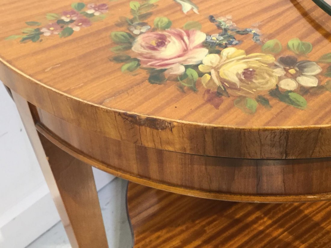 Edwardian paint decorated satinwood coffee table - 8