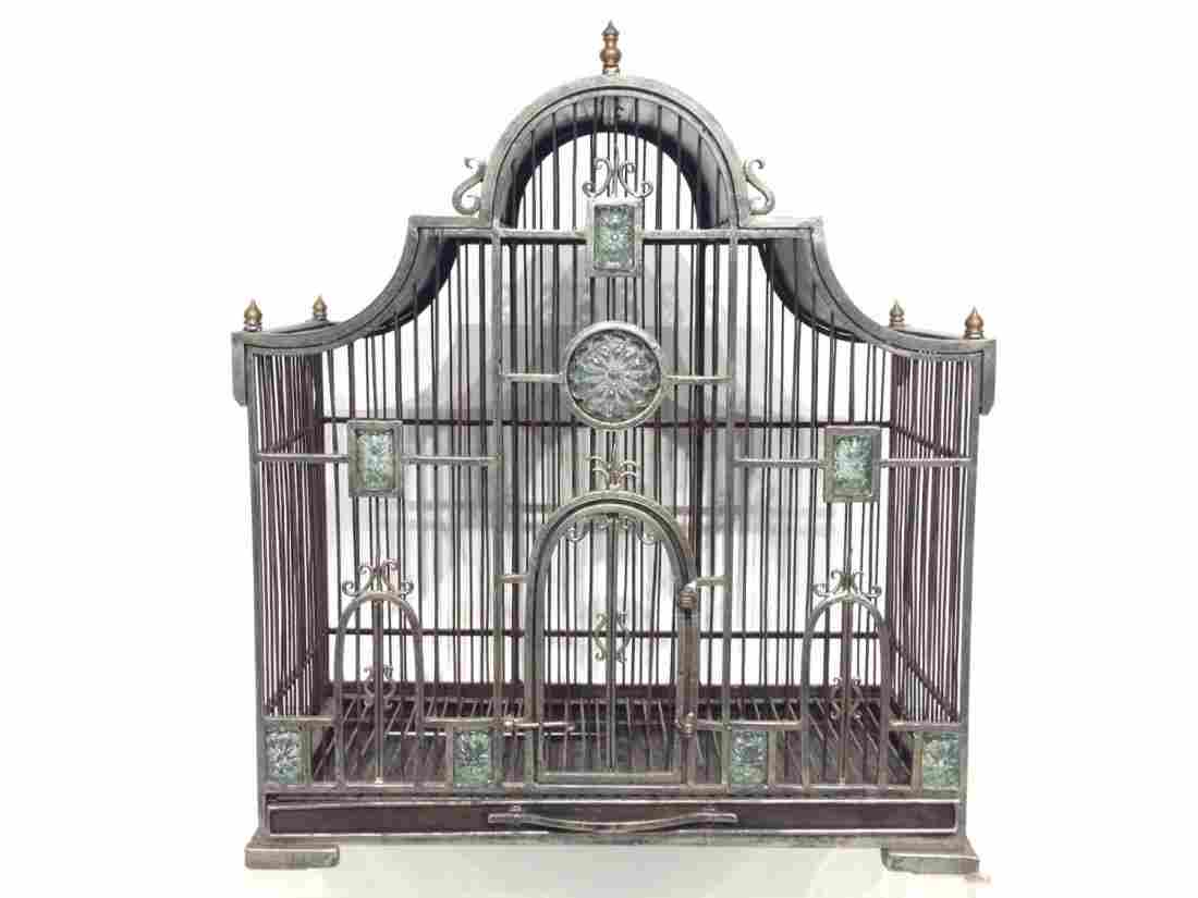 Victorian style wrought iron bird cage