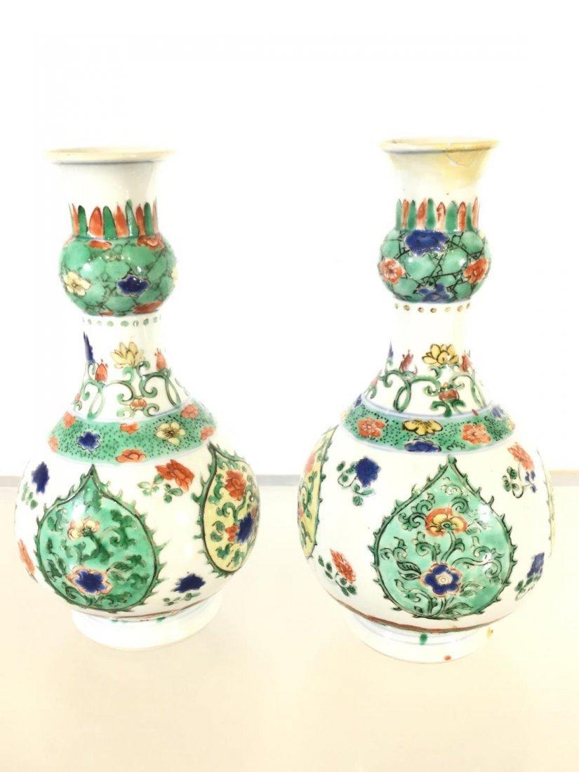 Pair Chinese Export famille vert gourd vases - 2