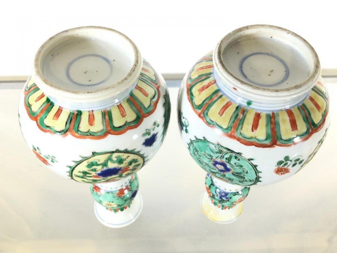 Pair Chinese Export famille vert gourd vases - 3
