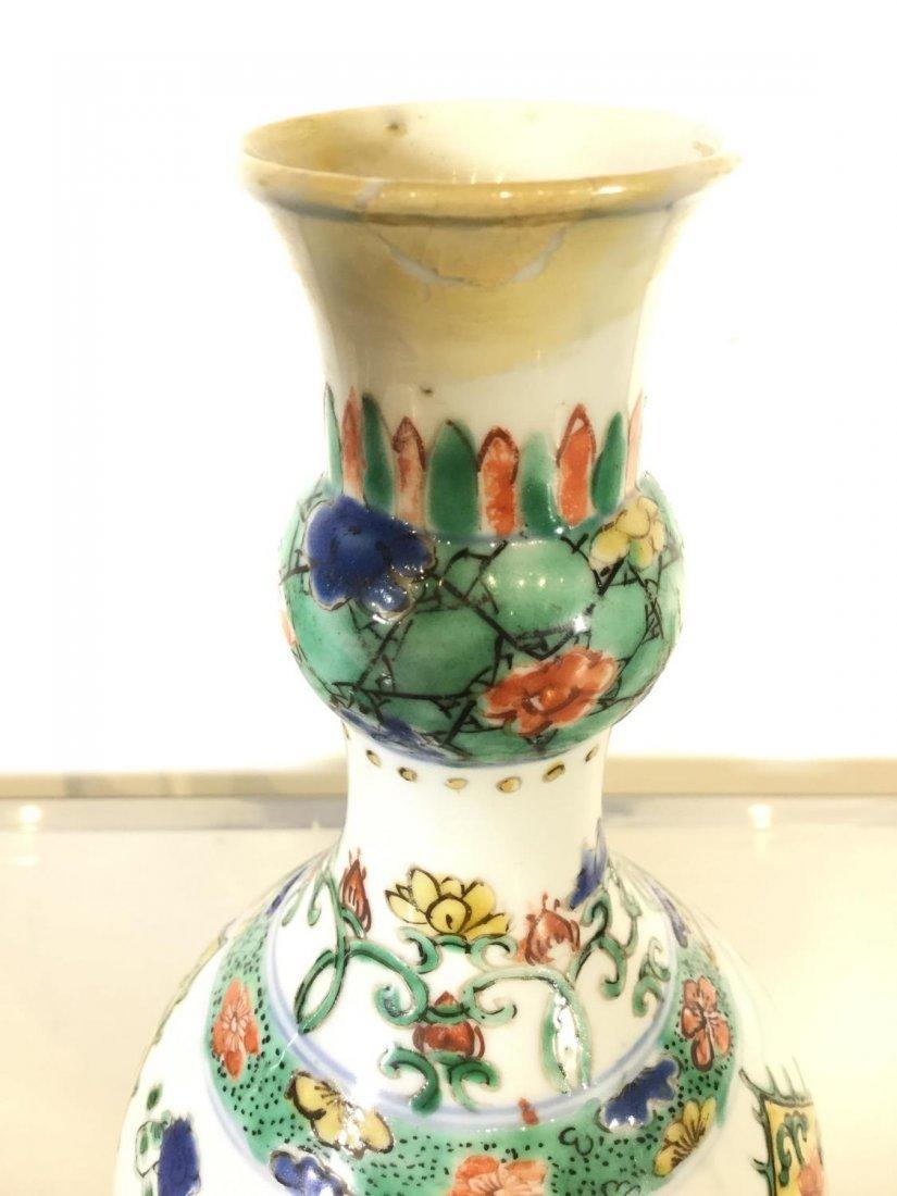 Pair Chinese Export famille vert gourd vases - 4
