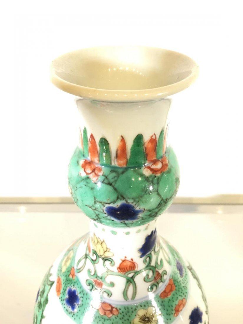 Pair Chinese Export famille vert gourd vases - 5