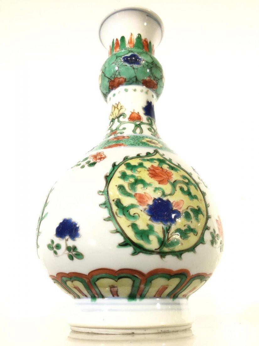 Pair Chinese Export famille vert gourd vases - 6