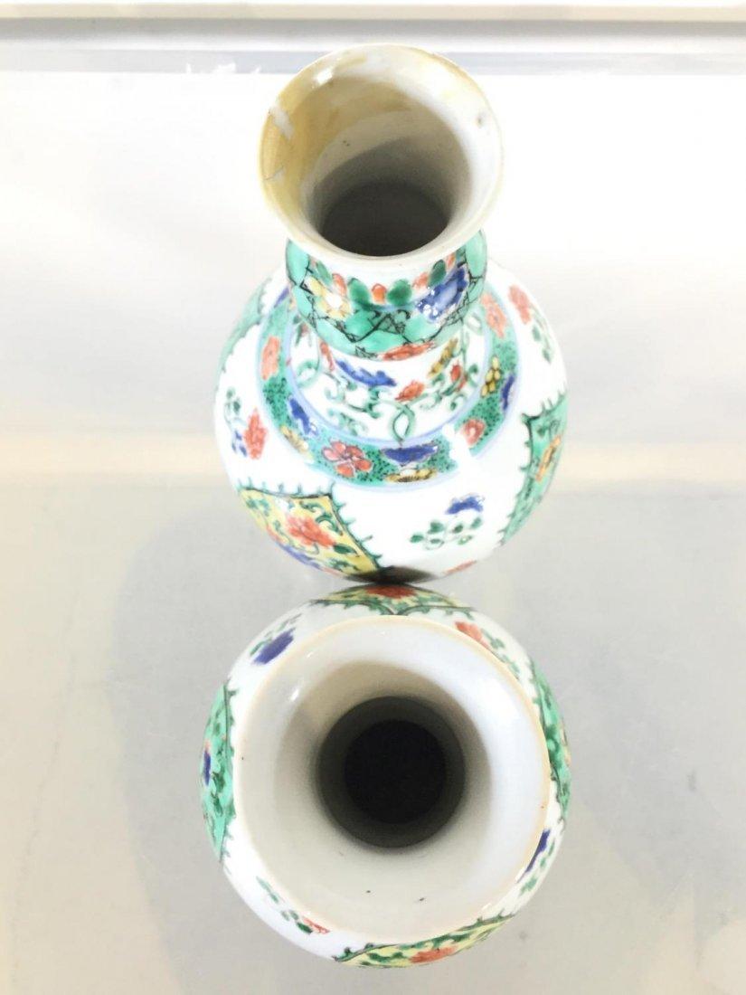 Pair Chinese Export famille vert gourd vases - 8