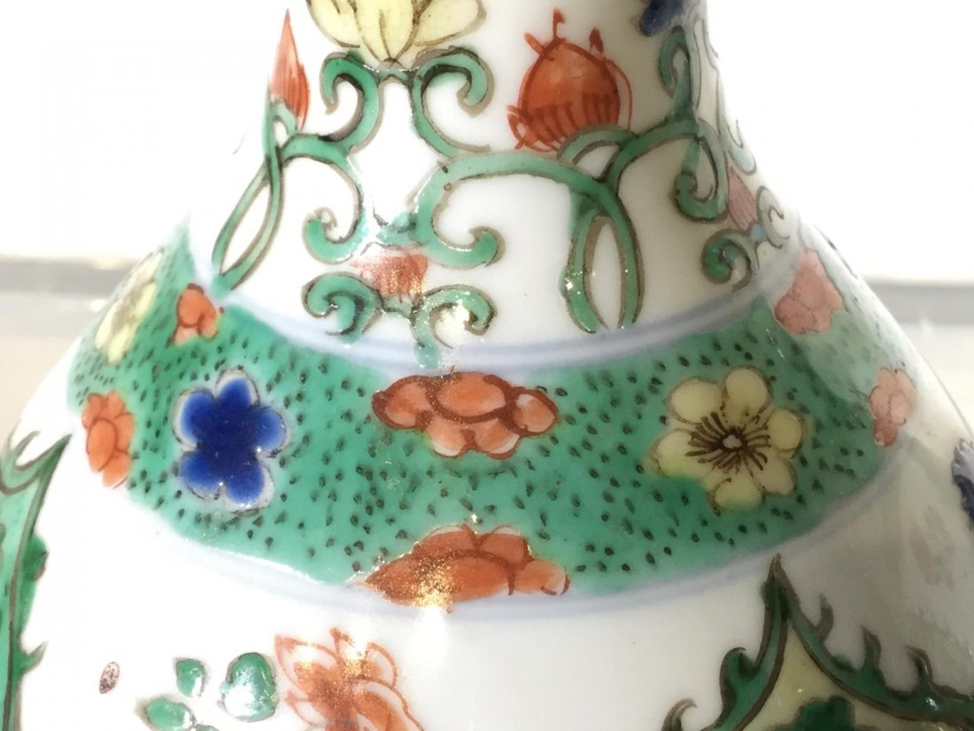 Pair Chinese Export famille vert gourd vases - 9
