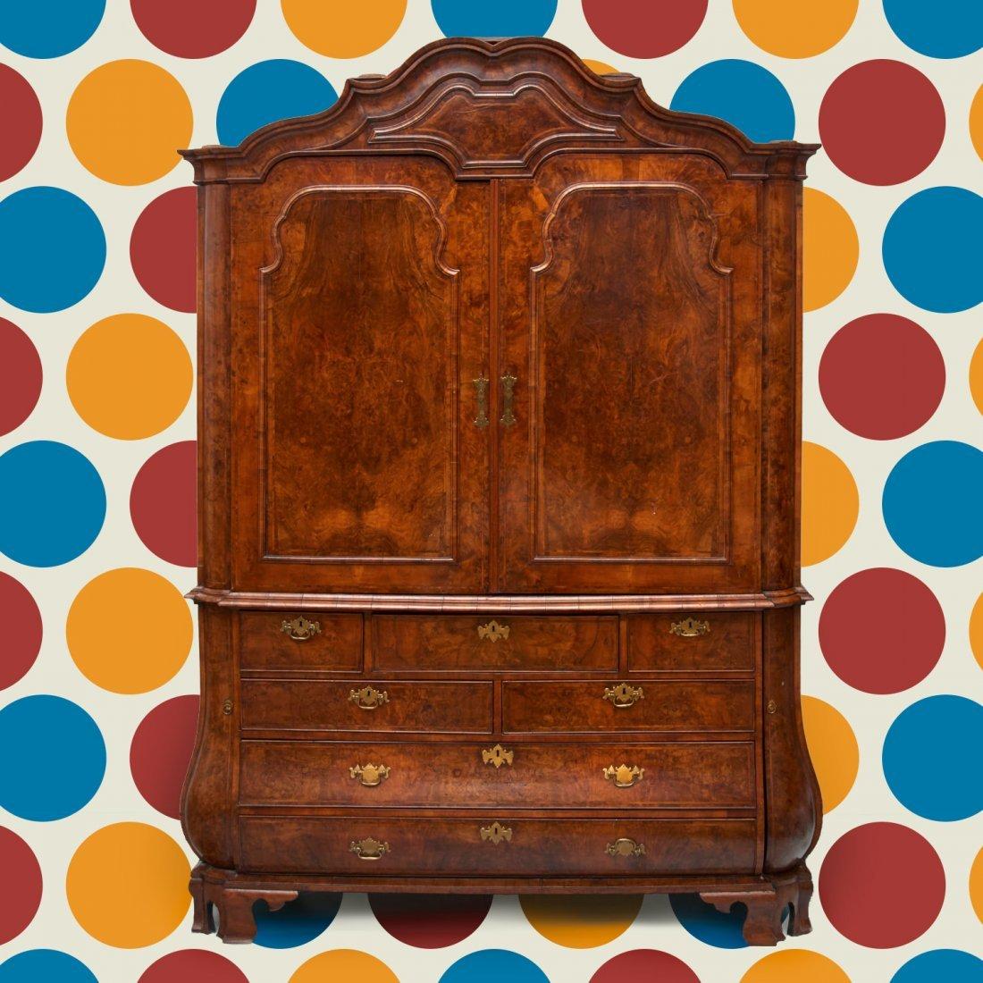 Dutch Rococo burl walnut secretary cabinet