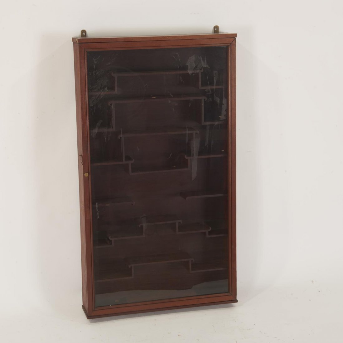 Chinese hardwood snuff bottle wall curio cabinet