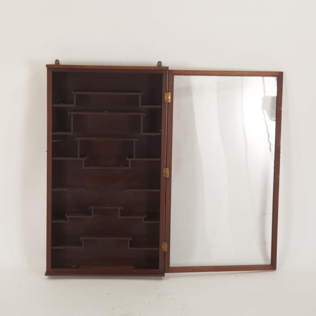 Chinese hardwood snuff bottle wall curio cabinet - 2