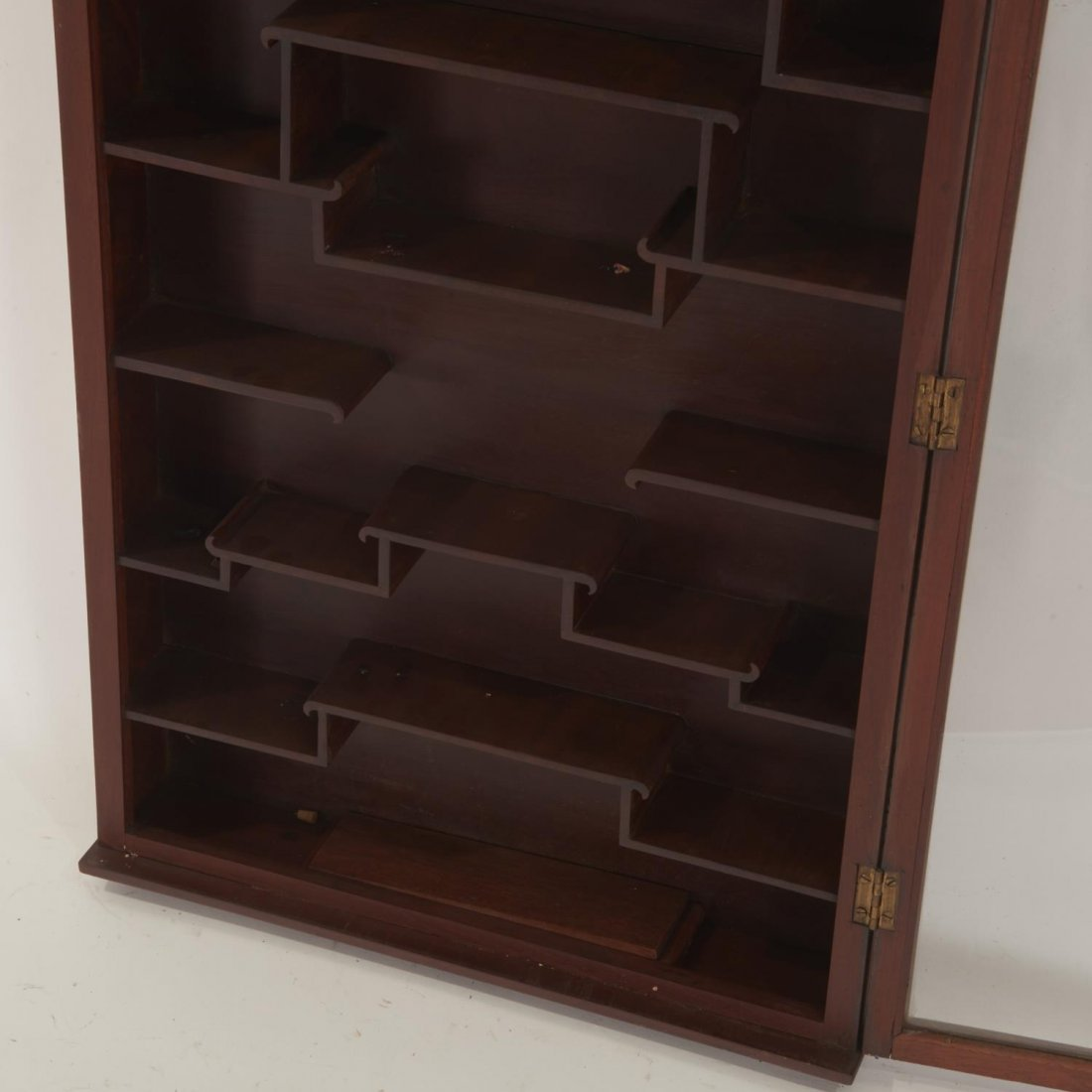 Chinese hardwood snuff bottle wall curio cabinet - 4