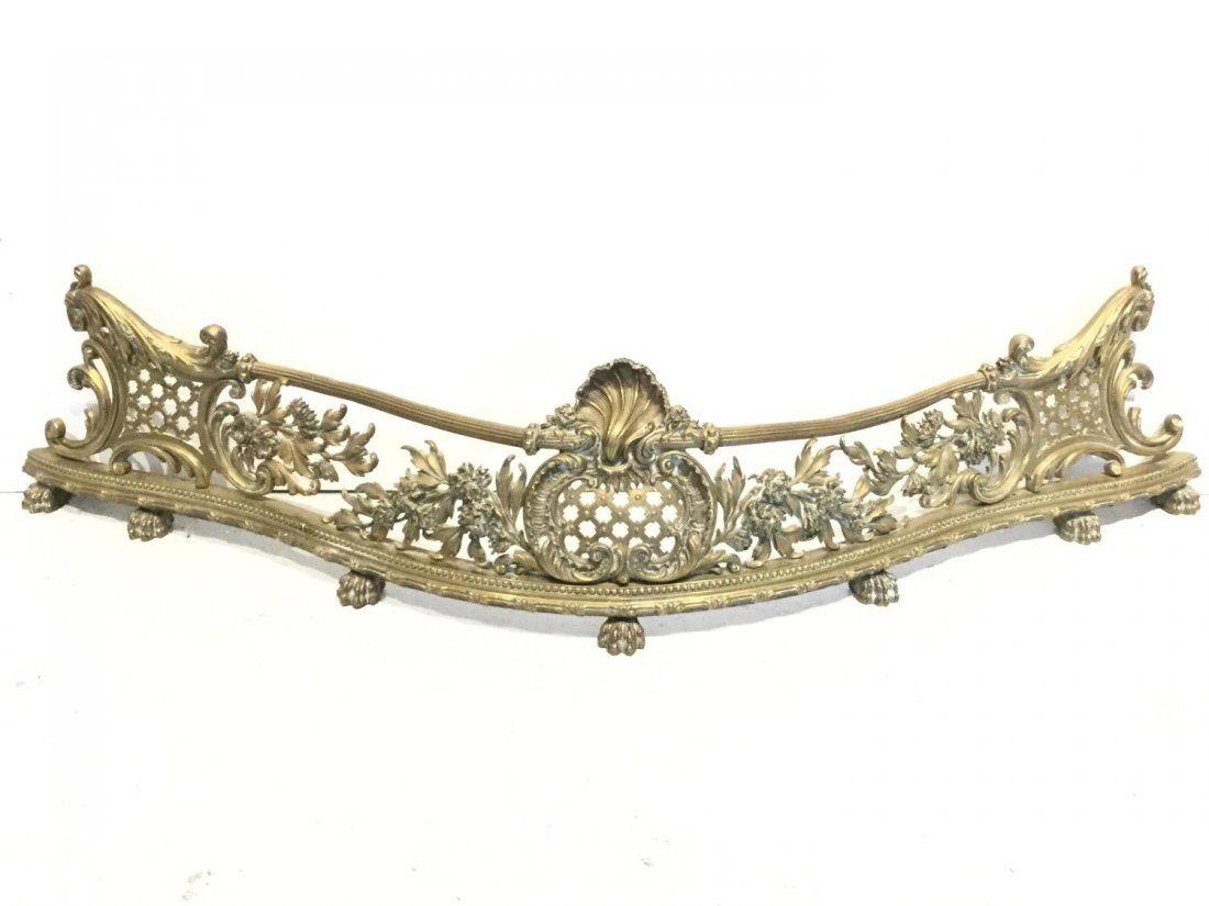 Rococo Revival pierced gilt bronze fire fender