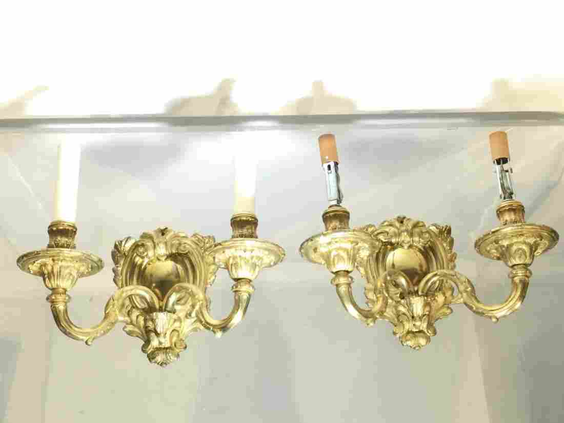 Pair George II style gilt bronze wall sconces