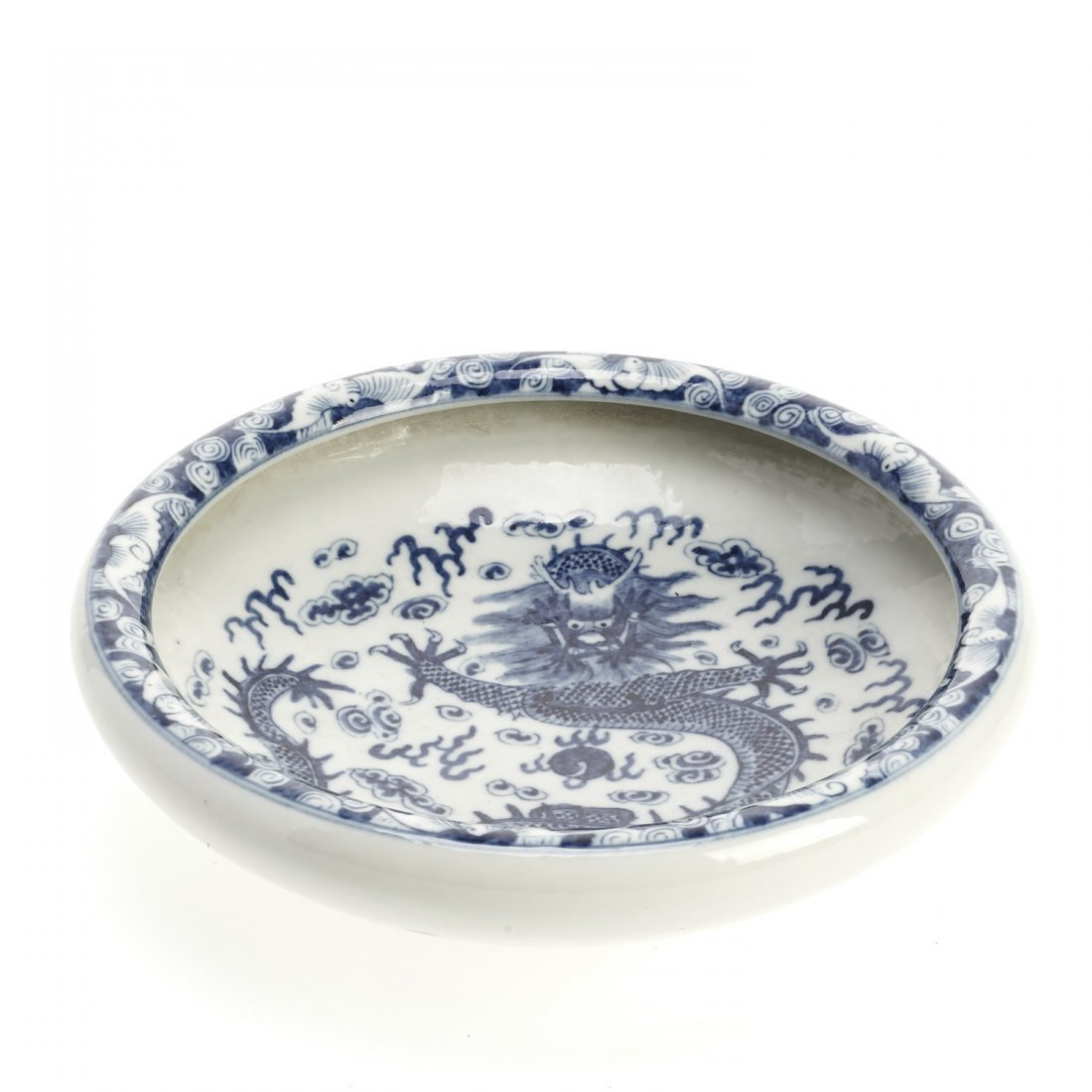 Chinese blue and white porcelain dragon dish - 2