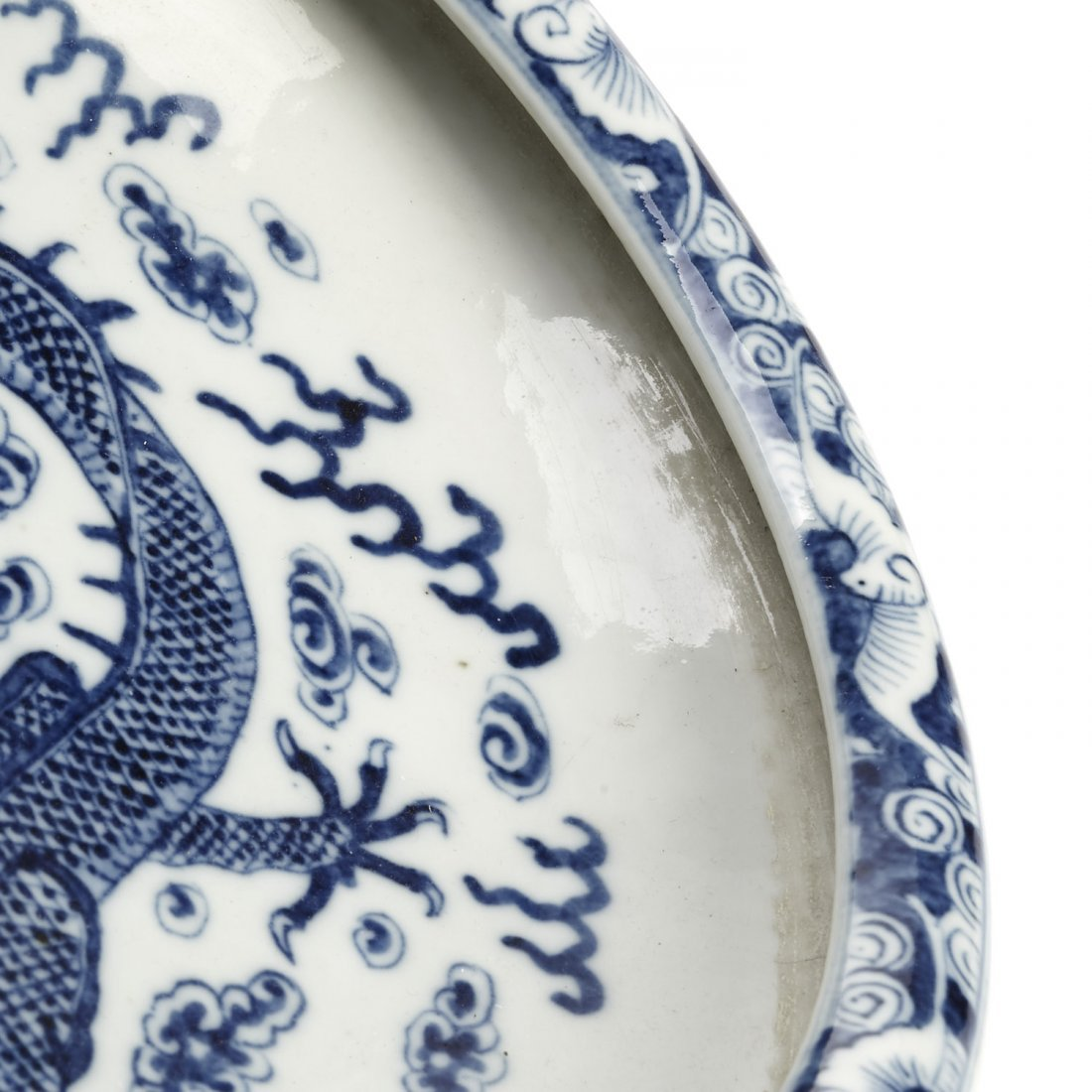 Chinese blue and white porcelain dragon dish - 3