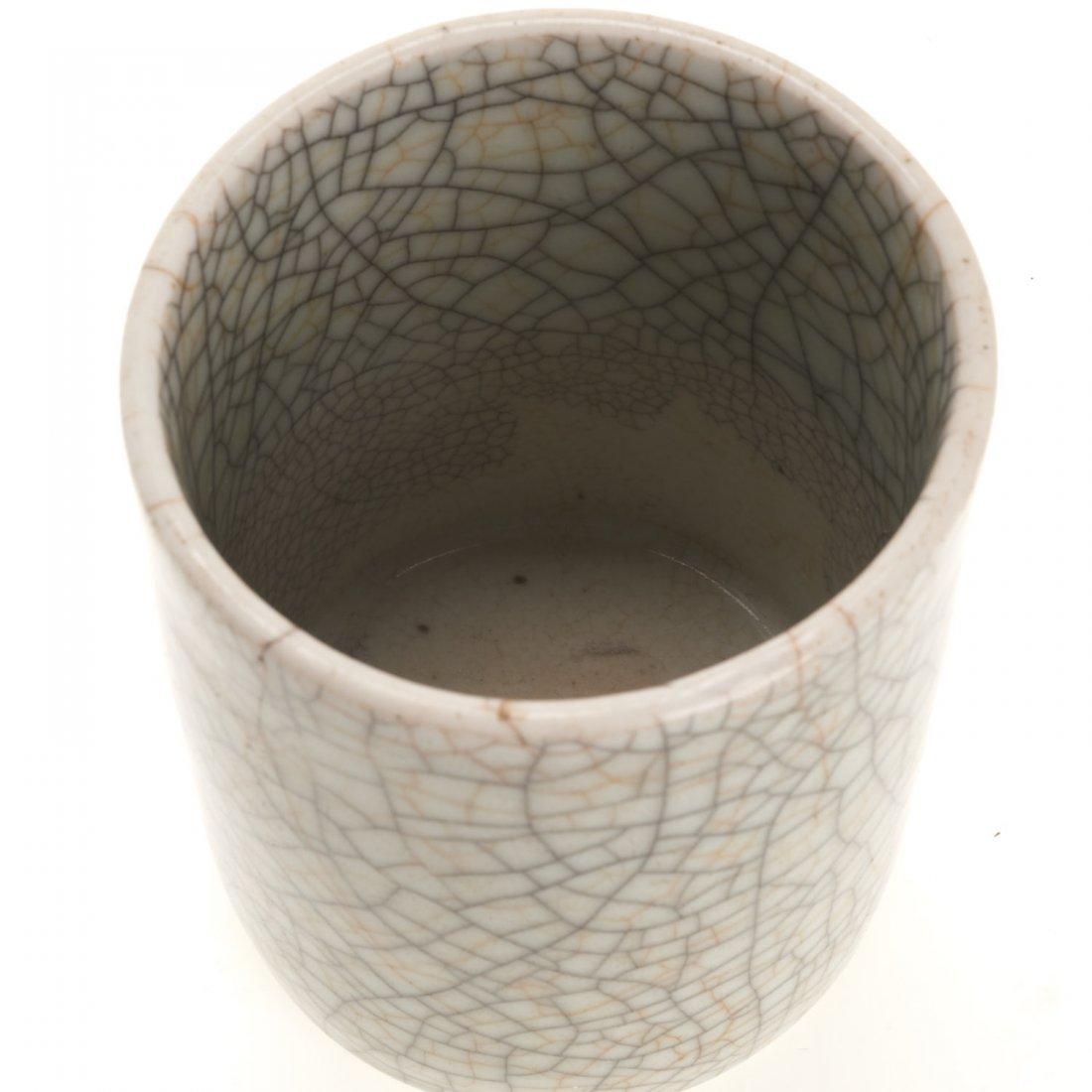 Asian celadon crackleware brush pot - 3