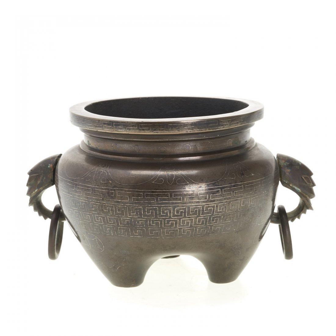 Chinese silver inlaid bronze tripod censer - 3