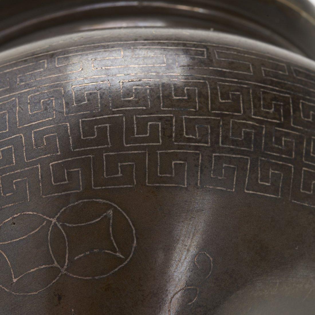 Chinese silver inlaid bronze tripod censer - 5