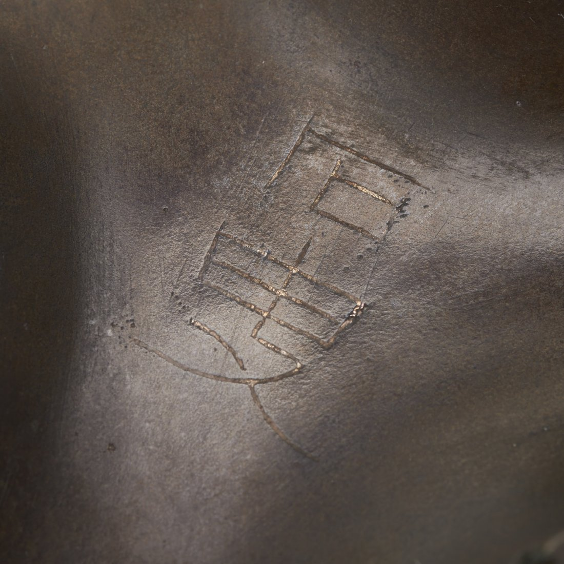 Chinese silver inlaid bronze tripod censer - 8