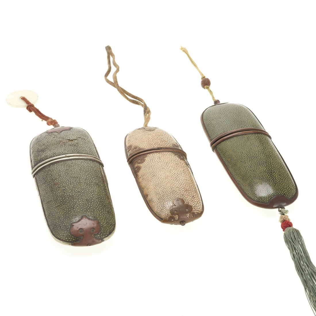 (3) Antique Chinese shagreen eyeglass cases - 2