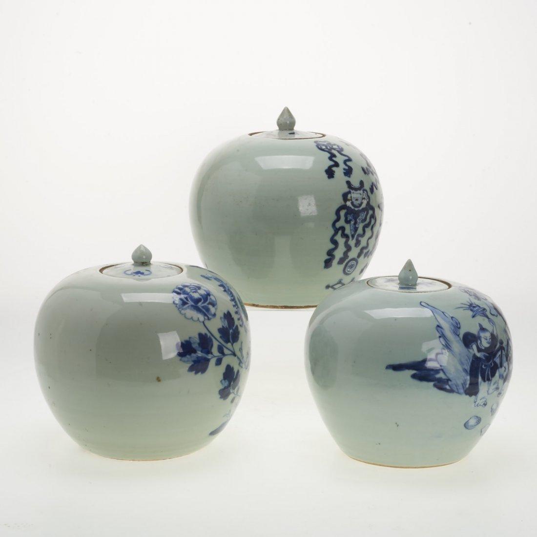 (3) Chinese blue and white globular covered jars - 2