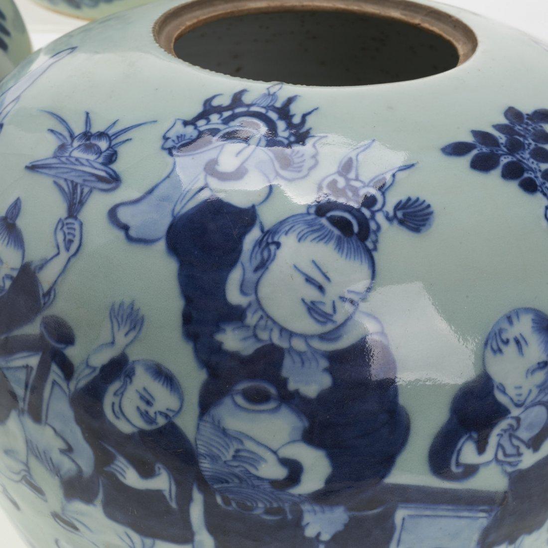 (3) Chinese blue and white globular covered jars - 5