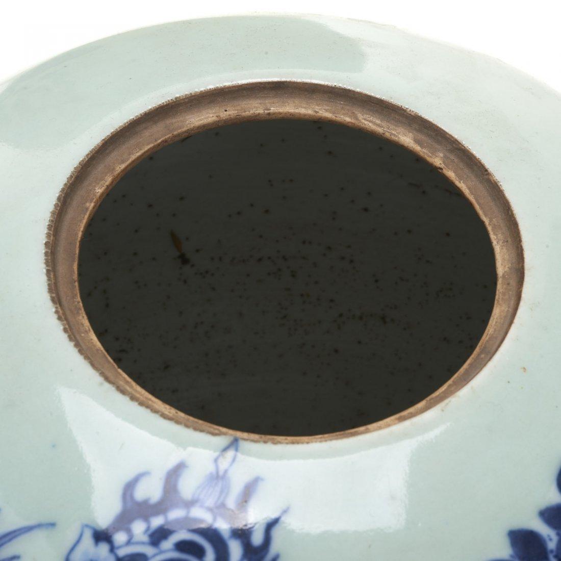 (3) Chinese blue and white globular covered jars - 6