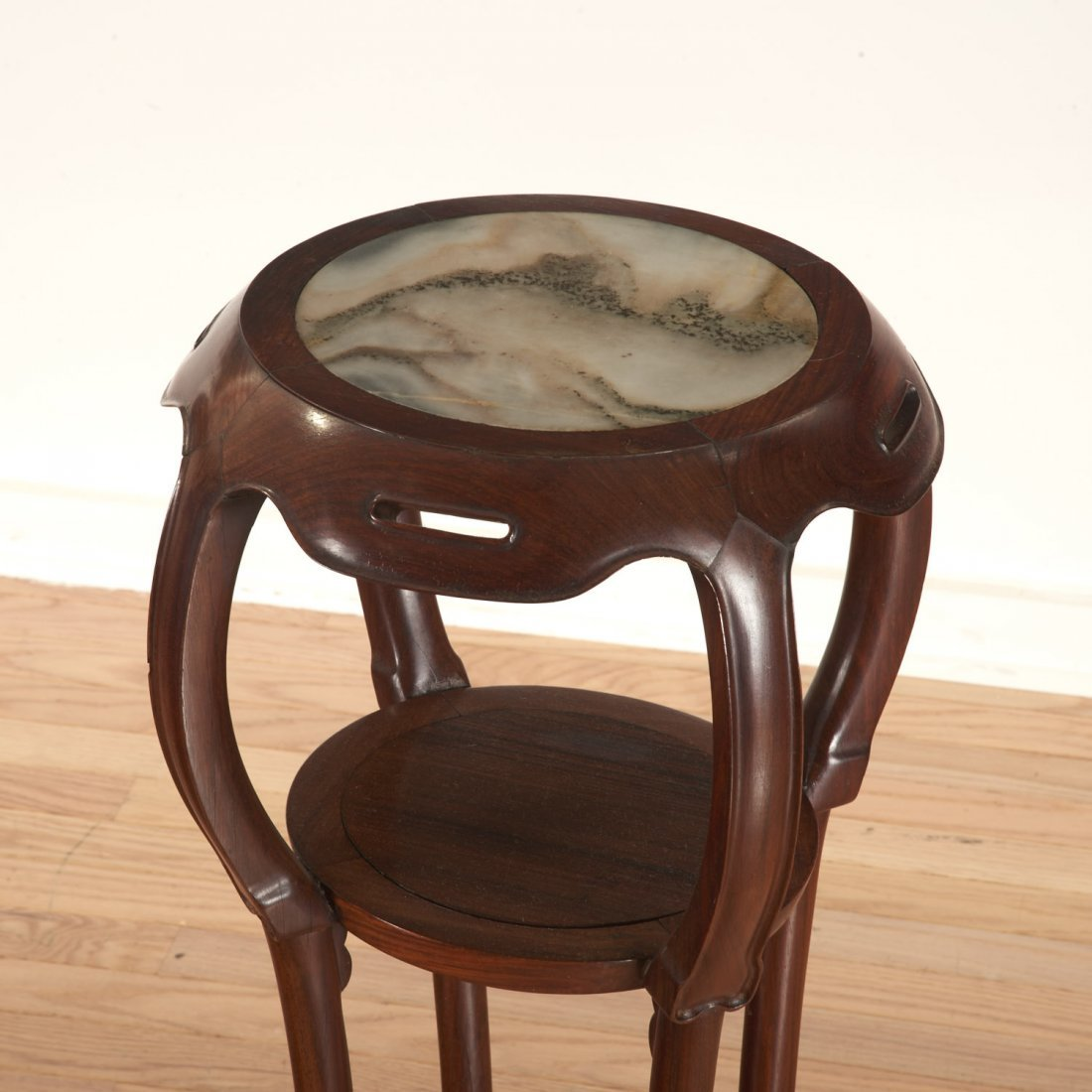 Nice pair Chinese marble inset hardwood stands - 3