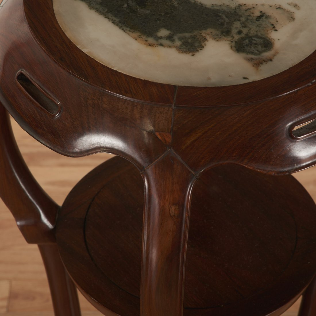 Nice pair Chinese marble inset hardwood stands - 5