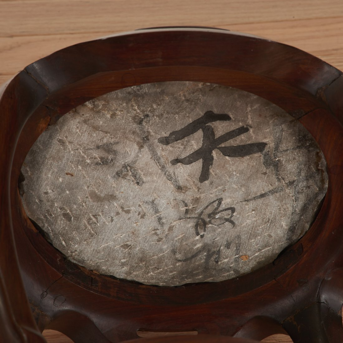 Nice pair Chinese marble inset hardwood stands - 8