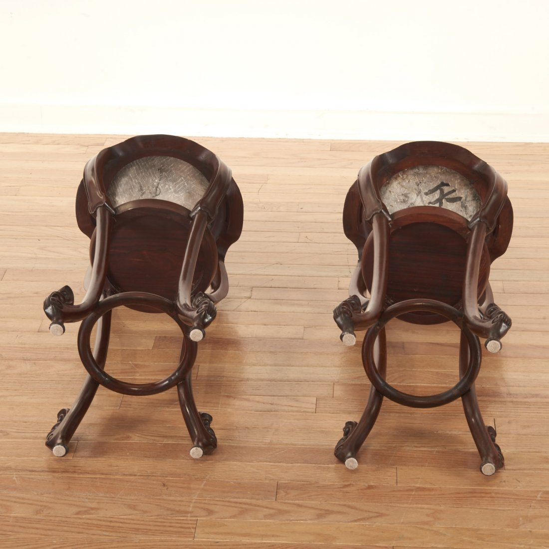 Nice pair Chinese marble inset hardwood stands - 9