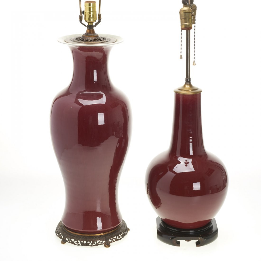 (2) Chinese porcelain oxblood vase lamps - 8