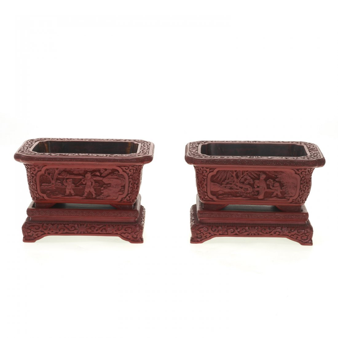 Pair Chinese red cinnabar jardinieres on stands - 2