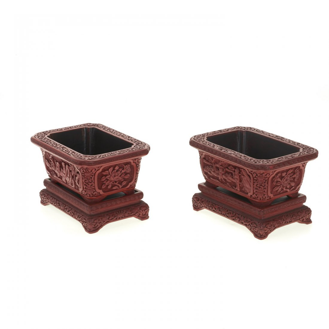 Pair Chinese red cinnabar jardinieres on stands - 3