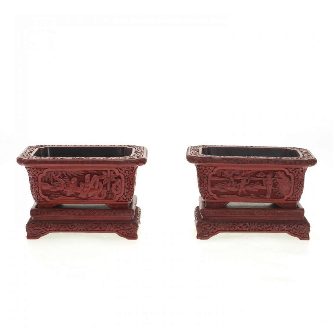 Pair Chinese red cinnabar jardinieres on stands - 4
