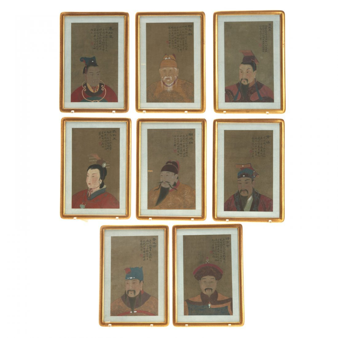 Set (8) Antique Chinese ancestral portraits