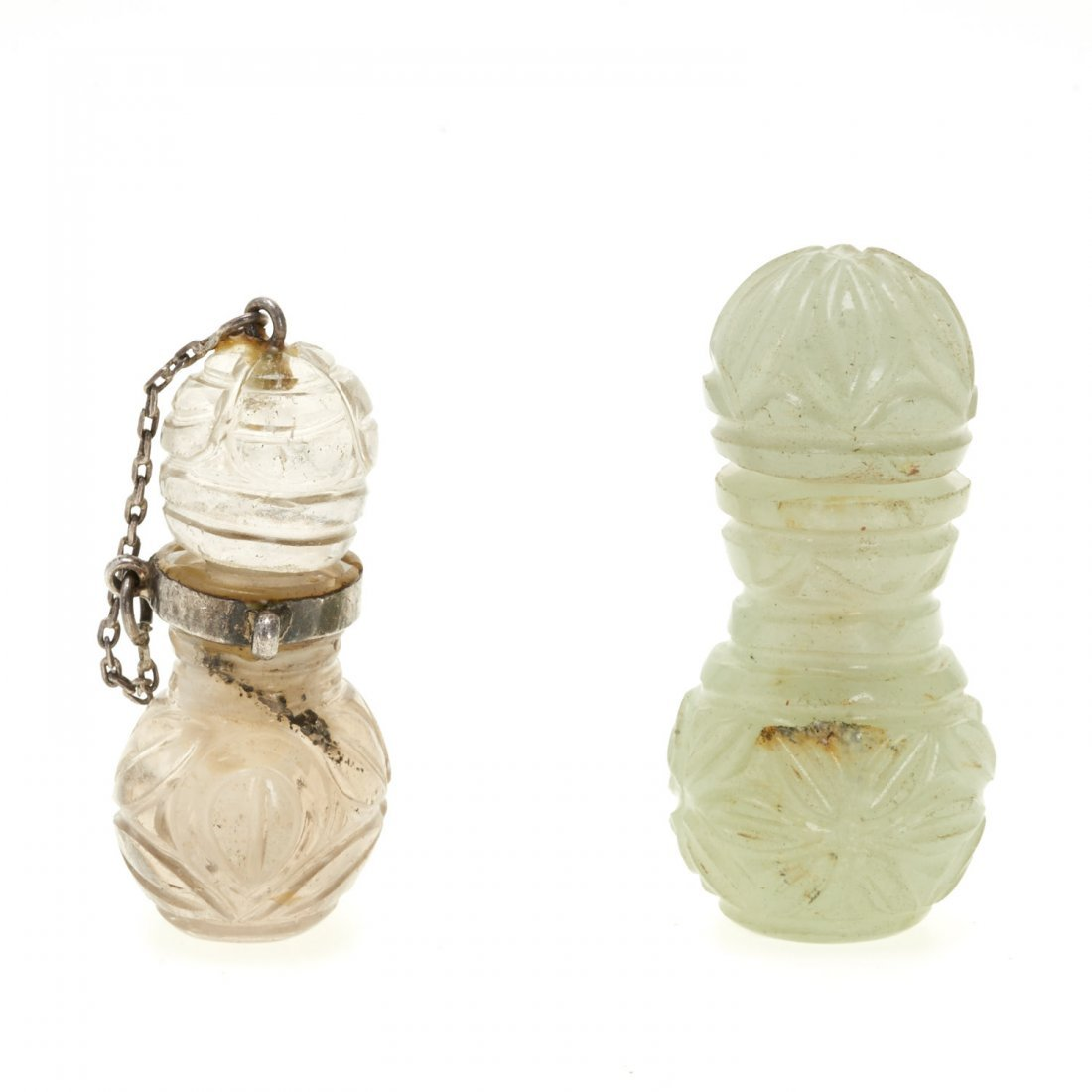 (2) Antique Chinese jade and rock crystal perfumes