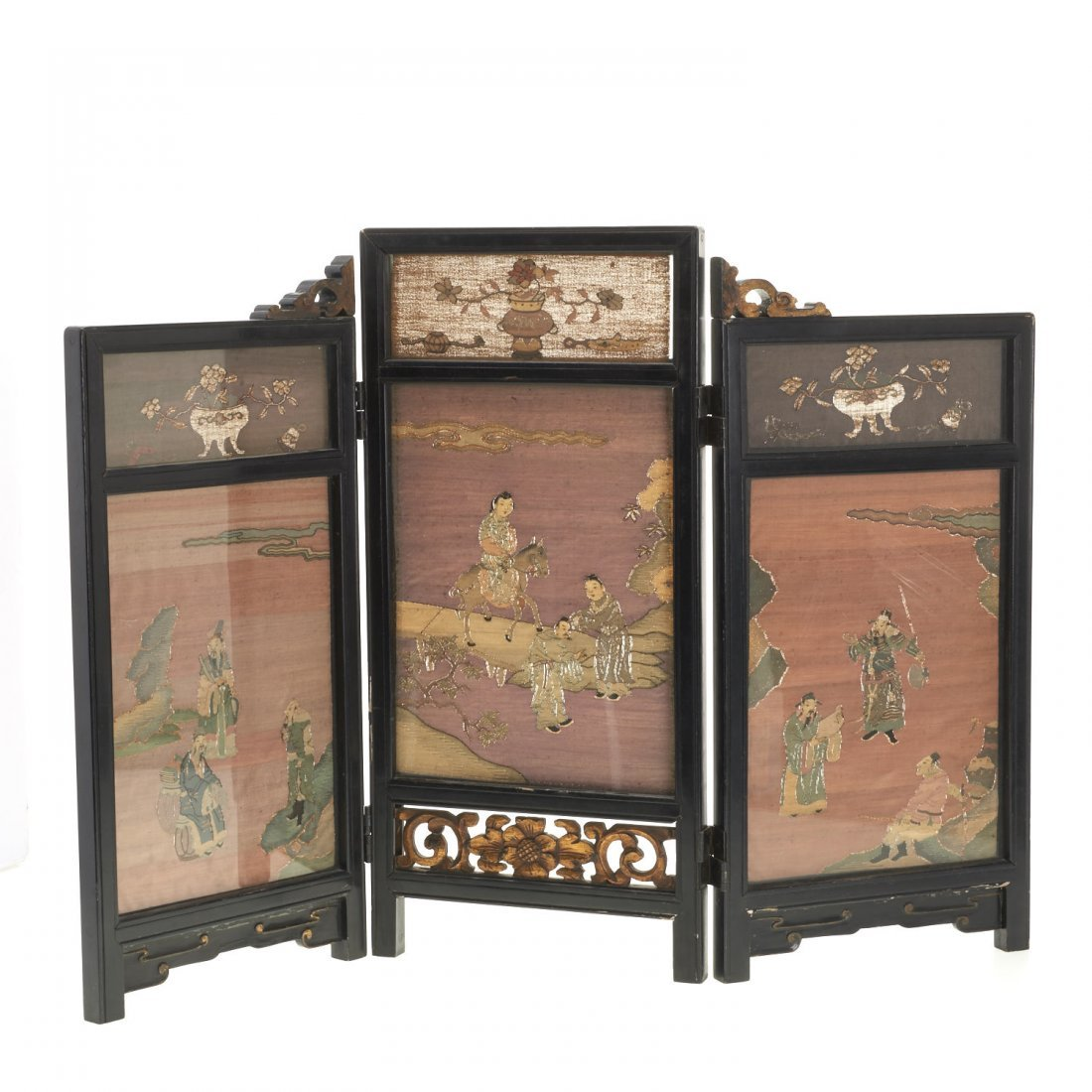 Antique Chinese Kesi panel, lacquer table screen