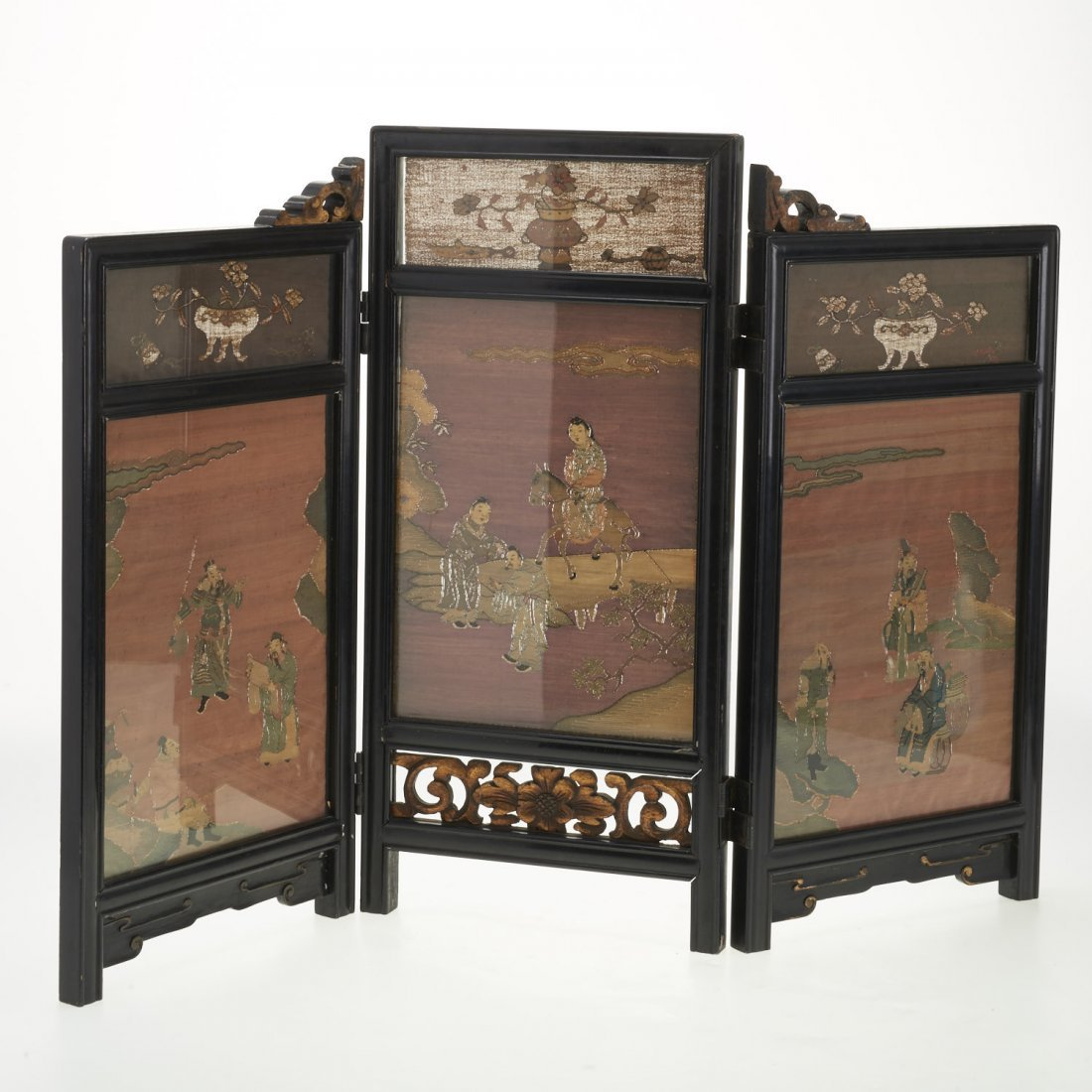 Antique Chinese Kesi panel, lacquer table screen - 7