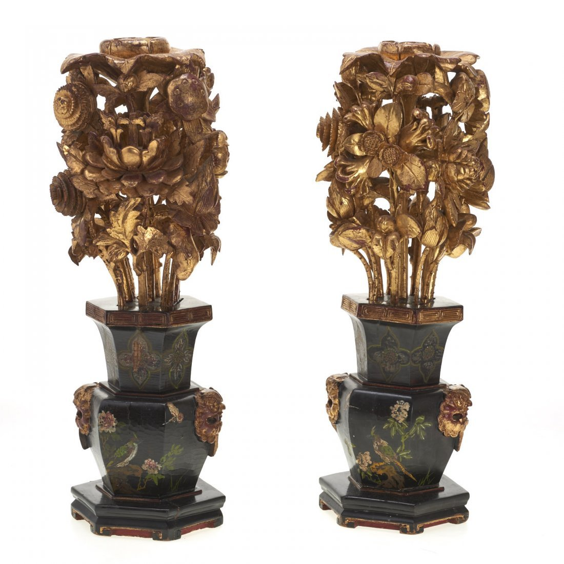 Pair Asian carved giltwood ornaments