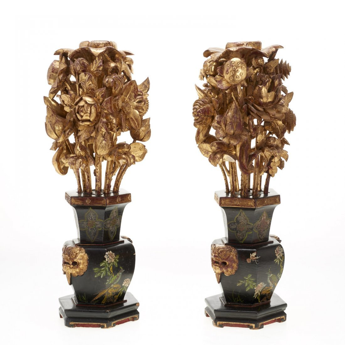 Pair Asian carved giltwood ornaments - 2