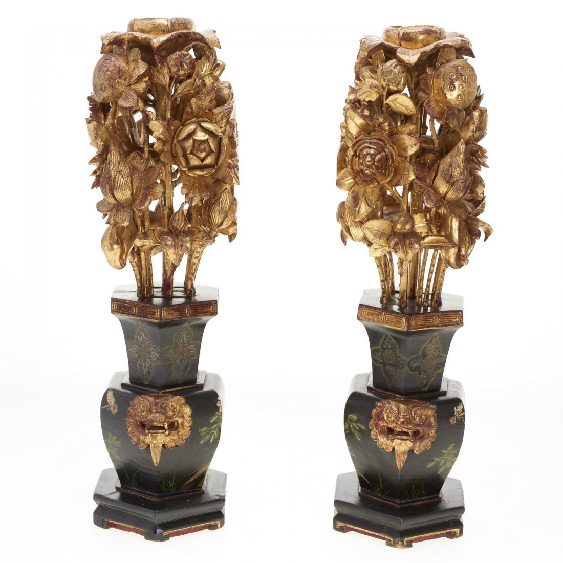 Pair Asian carved giltwood ornaments - 7
