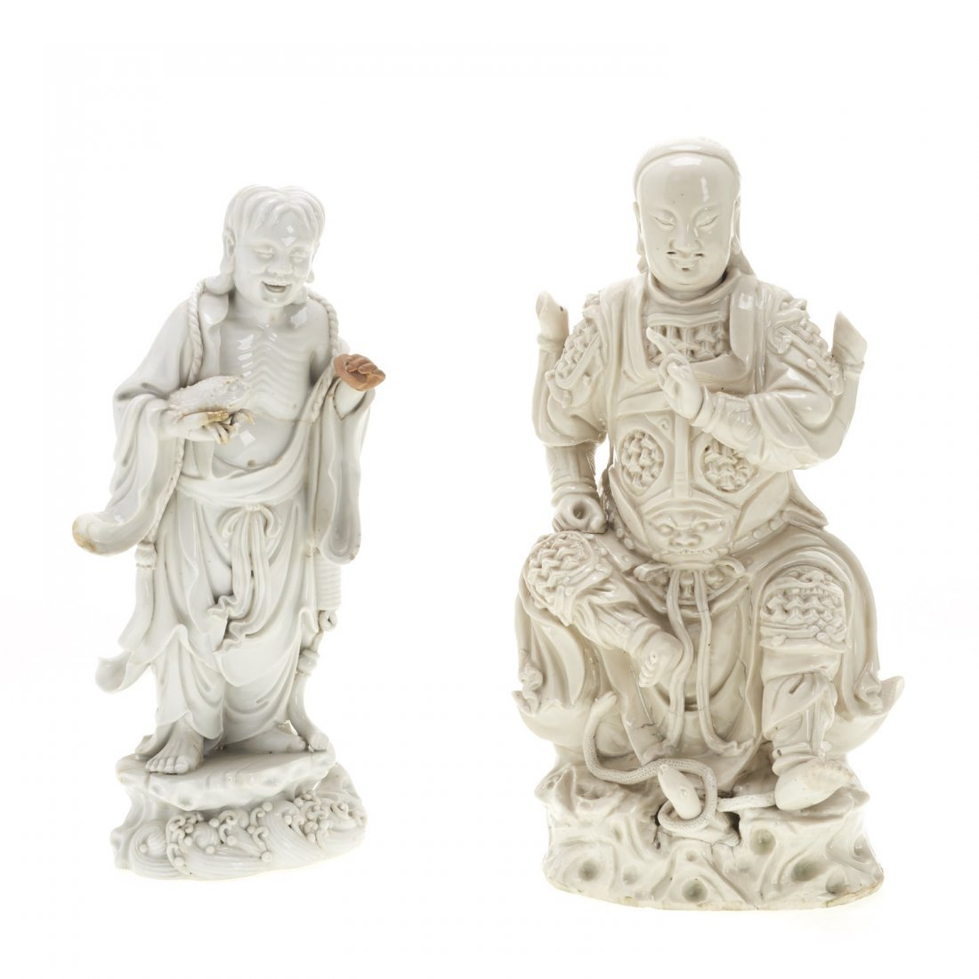 (2) Chinese blanc de chine figures