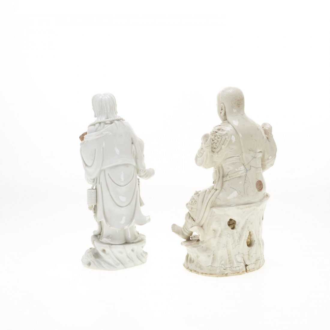 (2) Chinese blanc de chine figures - 7