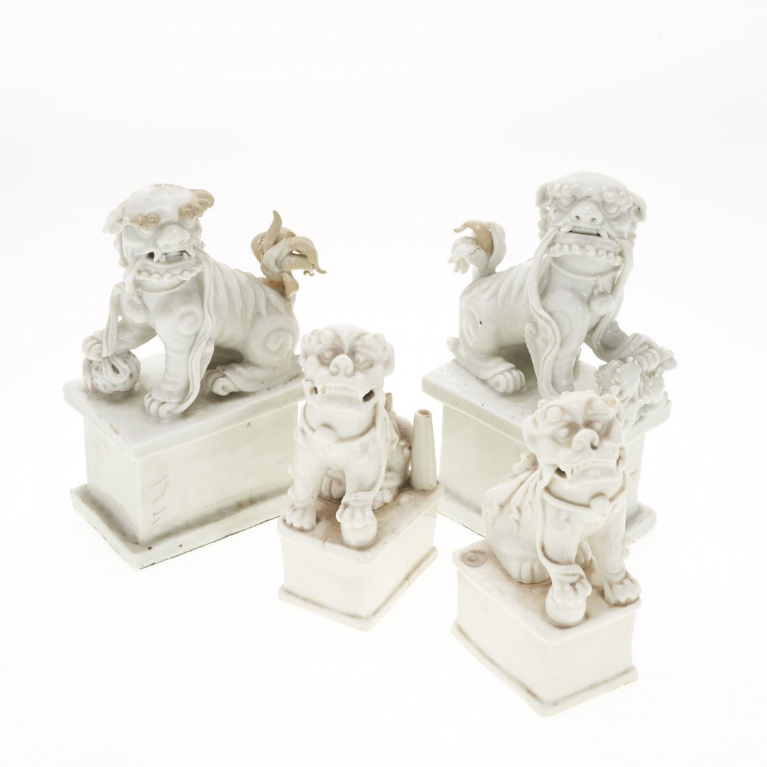 (2) Pair Chinese blanc de chine foo lions