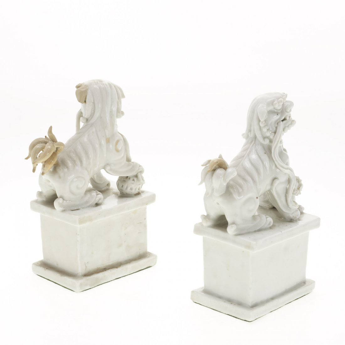 (2) Pair Chinese blanc de chine foo lions - 6
