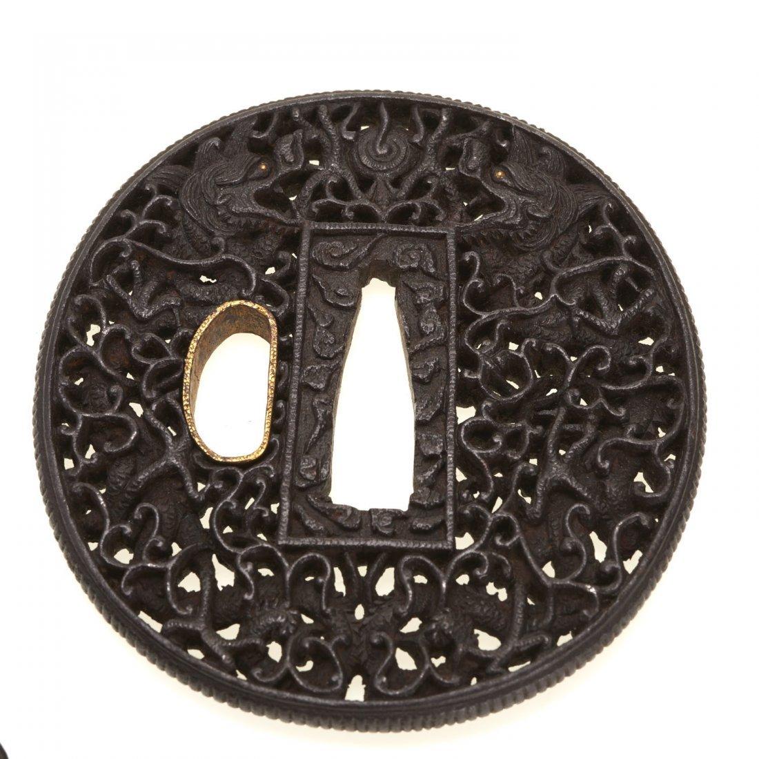 (2) Antique Japanese iron Namban tsuba - 2
